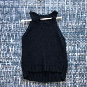 Navy knit sleeveless sweater